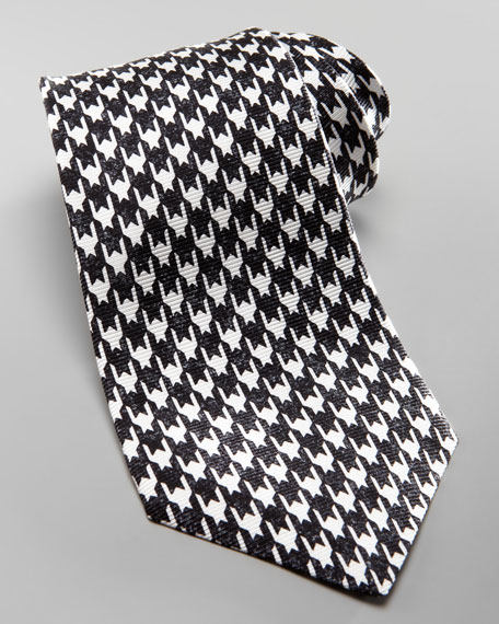 Textured Houndstooth Tie, Charcoal