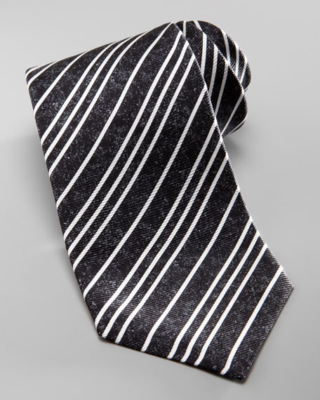 Textured Striped Silk Tie, Charcoal