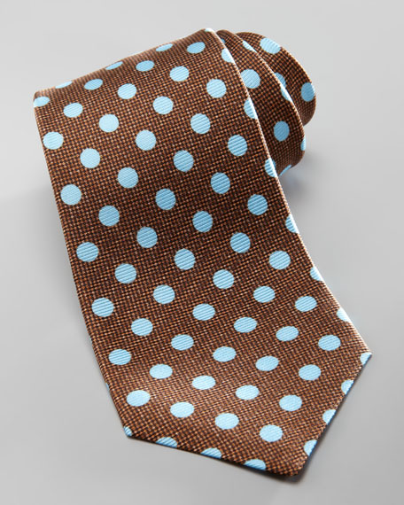 Textured Polka-Dot Tie, Brown
