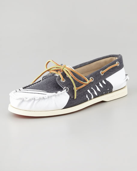Hand-Painted Canvas Boat Shoe, Navy/White