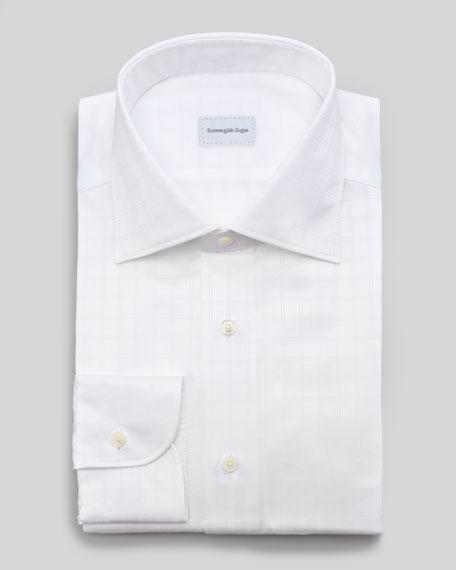 Tonal Windowpane-Check Dress Shirt