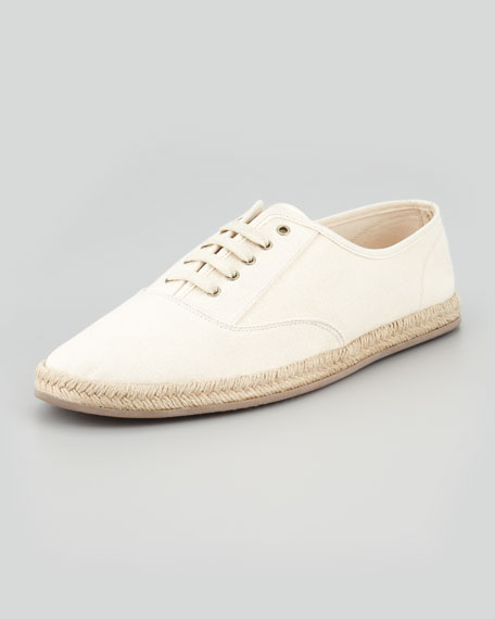 Lace-Up Canvas Espadrille Sneaker, Natural