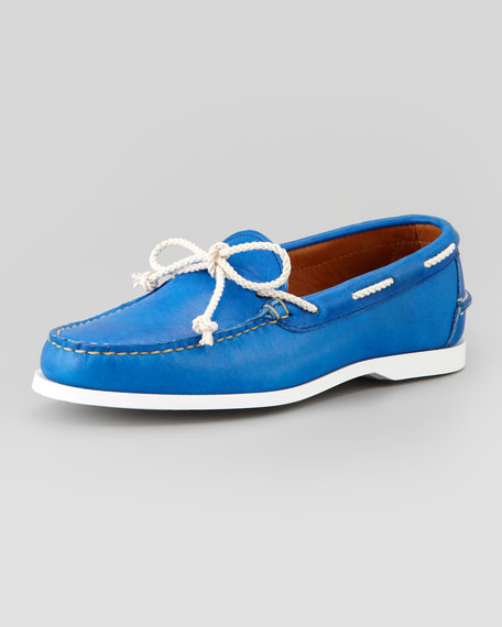 Thad Leather Boat Shoe, Royal