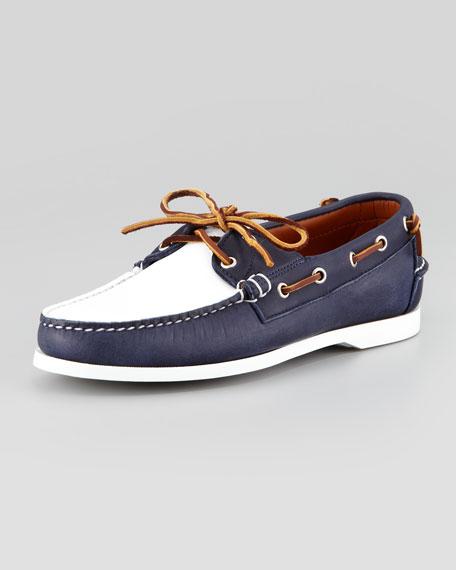 Telford II Two-Tone Leather Boat Shoe, Navy/White