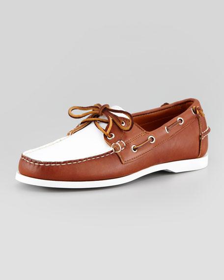 Telford II Two-Tone Leather Boat Shoe, Brown/White