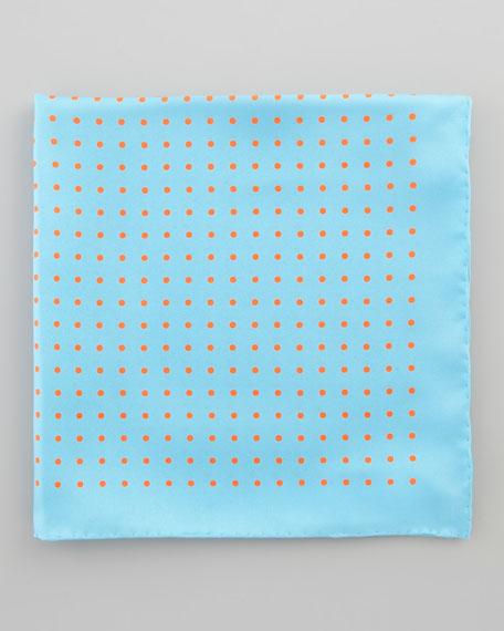 Polka-Dot Silk Pocket Square, Blue/Orange
