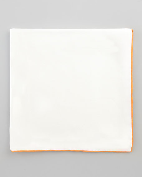 Silk Pocket Square, White/Orange