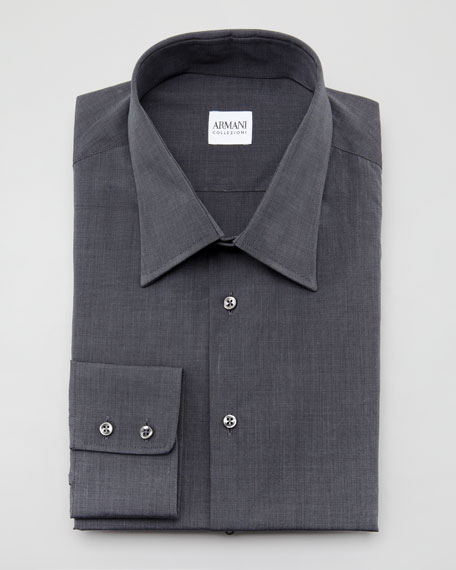 Solid Dress Shirt, Charcoal