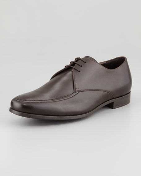 Rubber-Sole Leather Derby, Brown