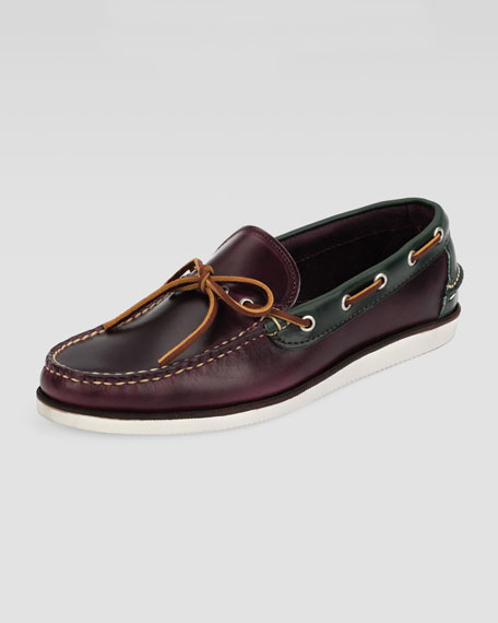 Yarmouth Boat Shoe, Wine/Loden Green