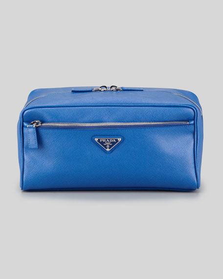 Saffiano Travel Toiletry Bag, Blue
