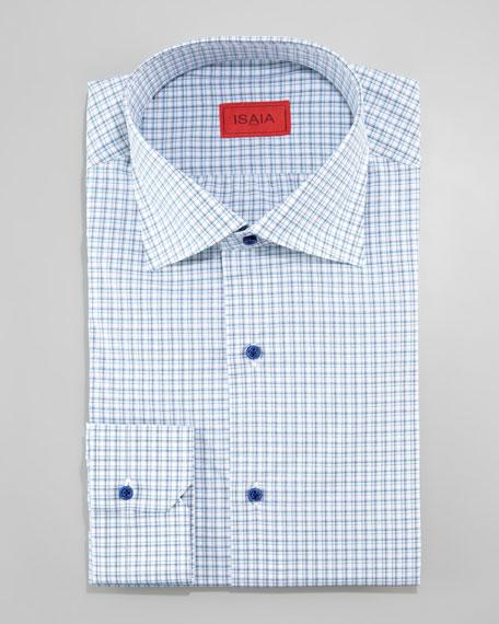 Shadow-Check Dress Shirt, Aqua