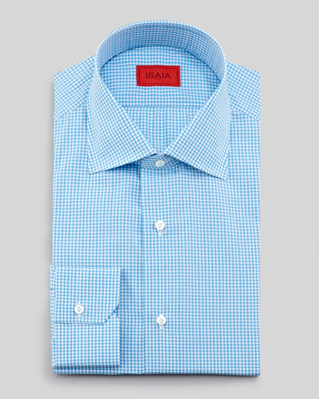 Slim-Fit Mini-Gingham Dress Shirt