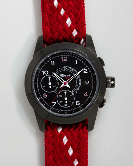 M2 Rope-Strap Chronograph Watch, Red