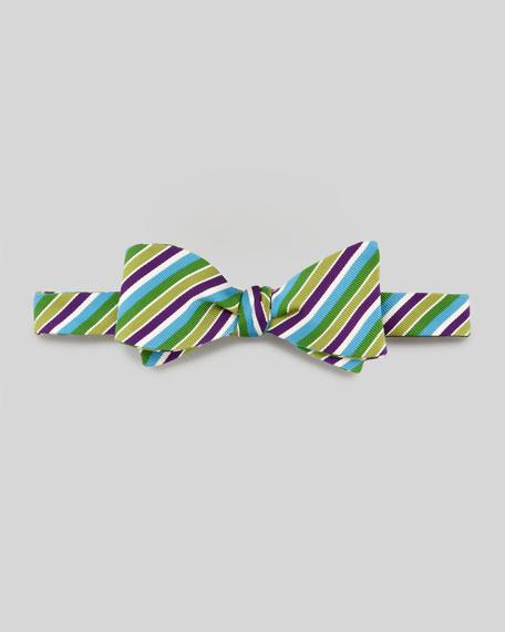 Striped Cotton Bow Tie, Purple