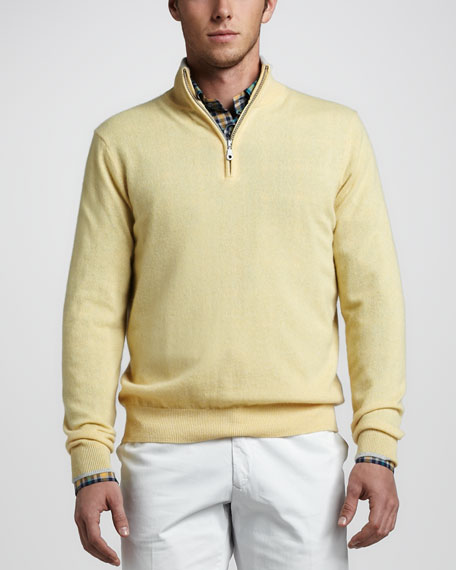 Quarter-Zip Cashmere Sweater, Yellow