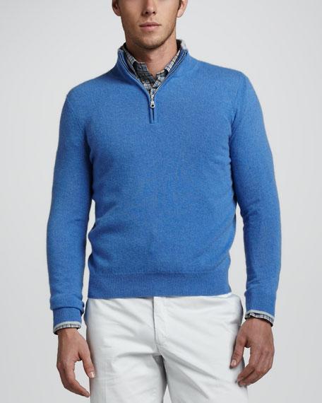 Quarter-Zip Cashmere Sweater, Blue