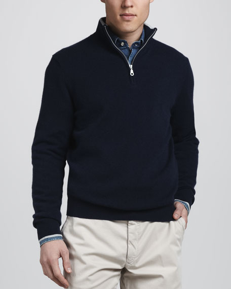 Quarter-Zip Cashmere Sweater, Navy