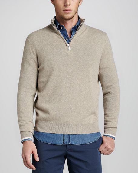 Quarter-Zip Cashmere Sweater, Oatmeal