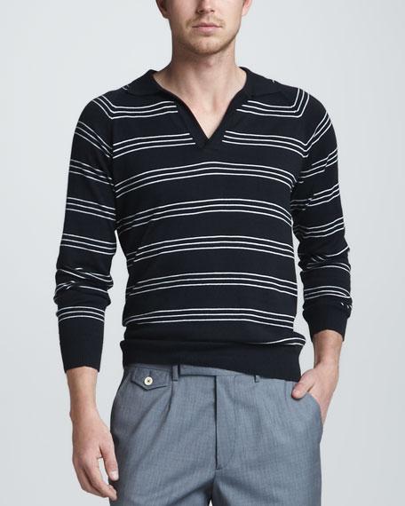 Striped Raglan Polo, Navy/White