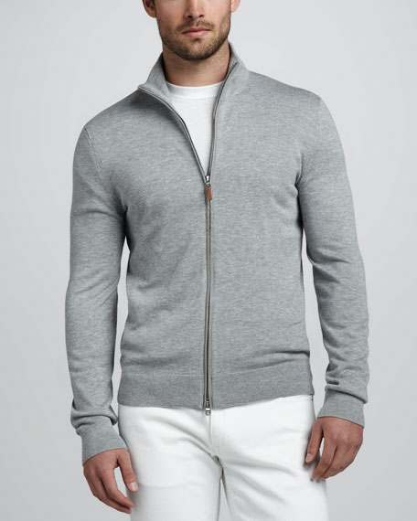 Leather-Trim Zip Sweater