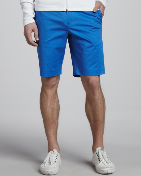 Stretch-Cotton Shorts, Mid Blue