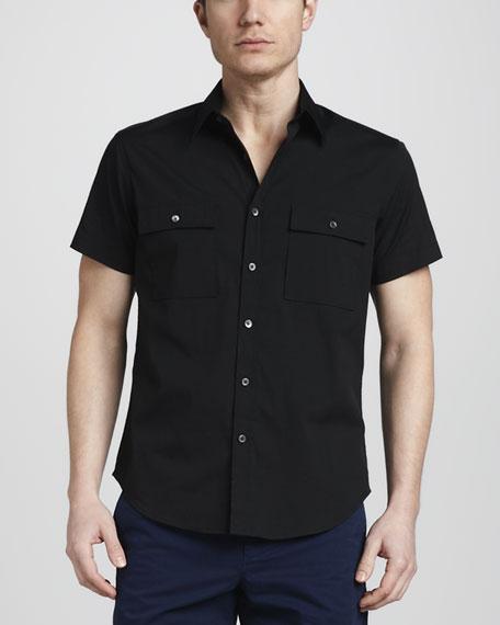 Two-Pocket Poplin Shirt, Black