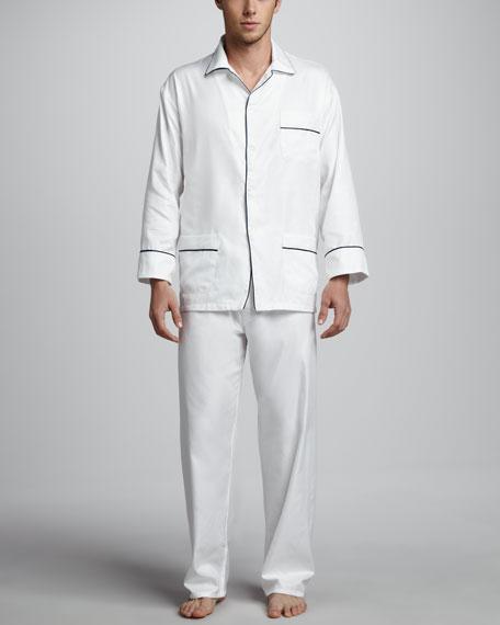 Neiman Marcus Men's Classic Sateen Pajamas, White