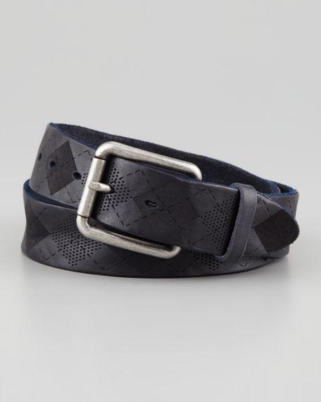 Leather Argyle-Pattern Belt, Blue