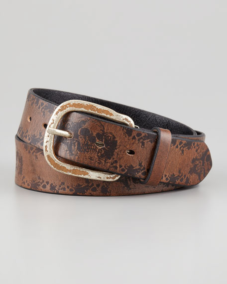 tulliani skull design leather belt