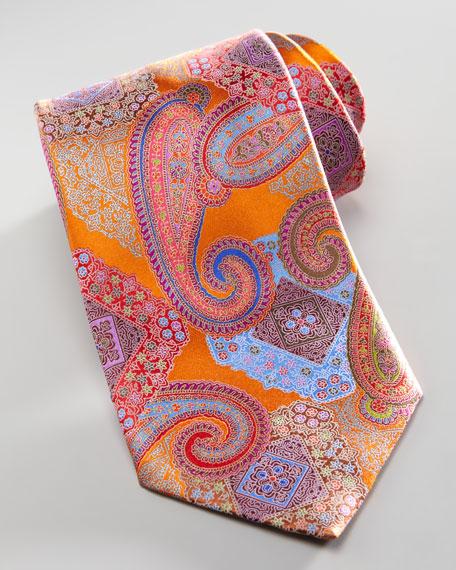 Paisley/Medallion Silk Tie, Orange