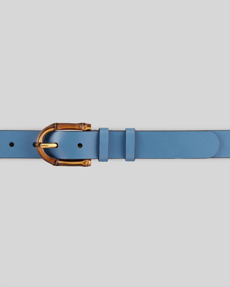 Bamboo Buckle Leather Belt, Blue