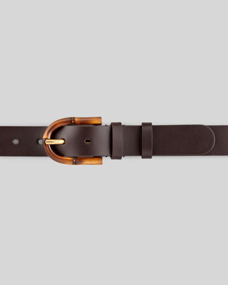 Bamboo Buckle Leather Belt, Brown