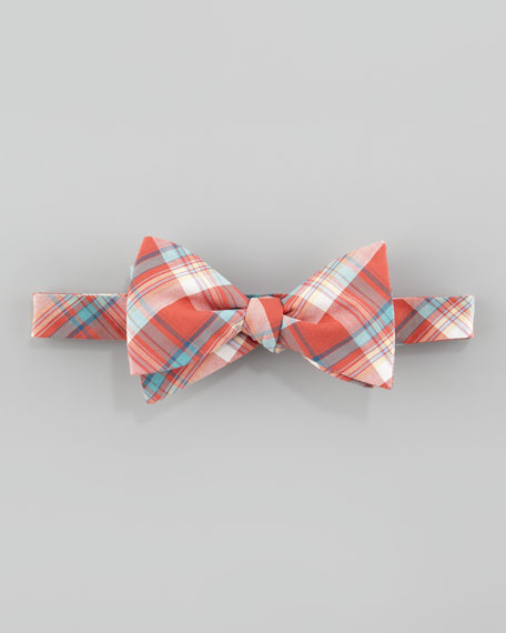 Plaid Poplin Bow Tie, Orange/Turquoise
