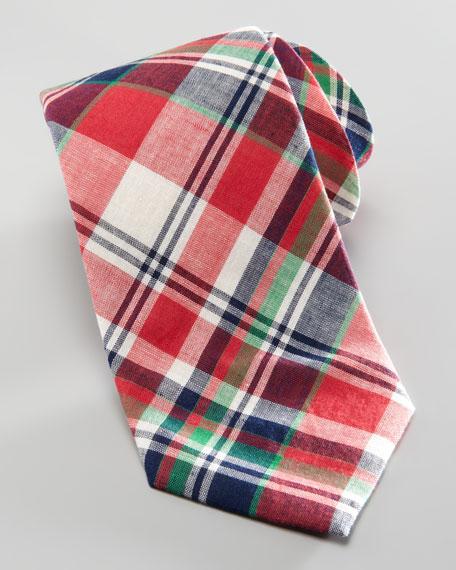 Plaid Cotton Tie, Red/Navy