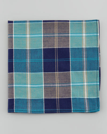 Madras Poplin Pocket Square, Blue Multi