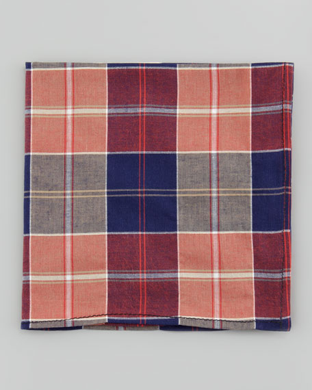 Madras Poplin Pocket Square, Orange/Navy