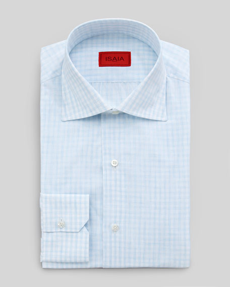 Small-Gingham Dress Shirt, Blue
