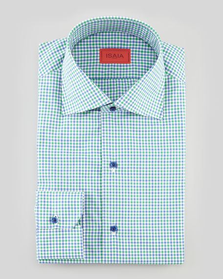 Bicolor Gingham Dress Shirt, Blue/Green