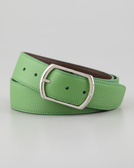 Reversible Pebbled Leather Belt, Green/Brown