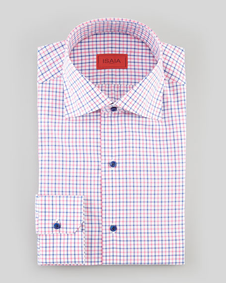 Graph-Check Dress Shirt, Pink/Navy