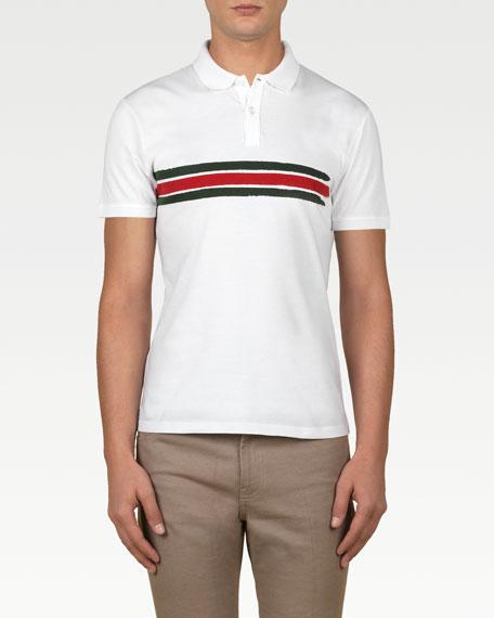 Green/Red/Green Stripe Polo Shirt