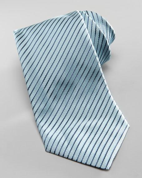 Diagonal Textured Stripe Silk Tie, Teal