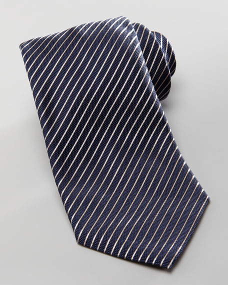 Diagonal Textured Stripe Tie, Navy