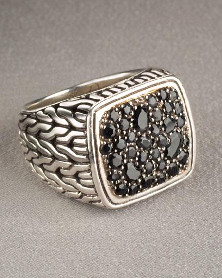 Black-Sapphire Square Ring
