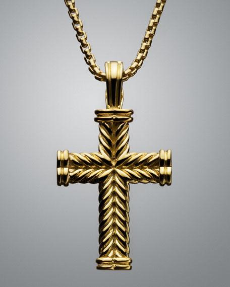 Large Chevron Cable Cross Pendant