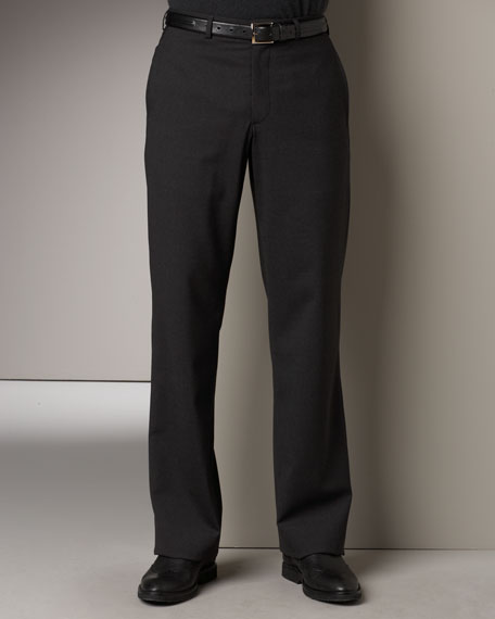 Flat-Front Pants, Gray