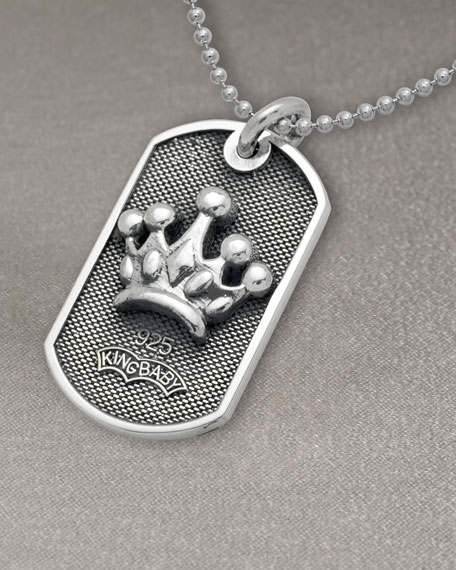 Crown Dog Tag Necklace