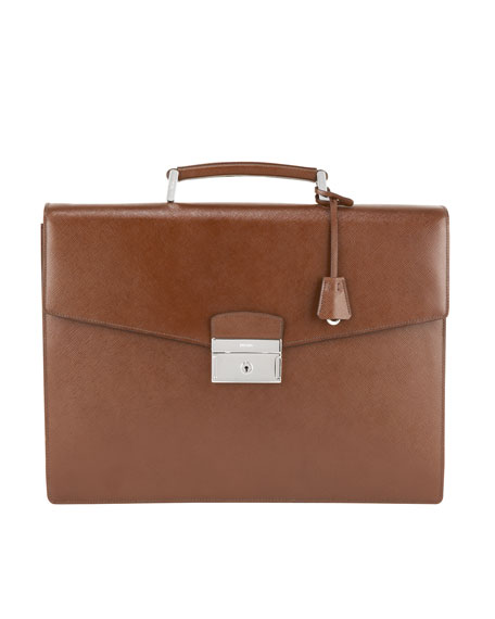 Leather Double-Gusset Briefcase