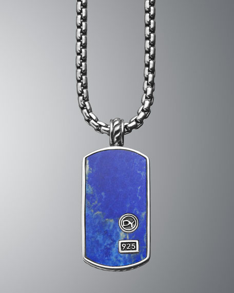 Exotic Stone Tag with Lapis Lazuli on Chain
